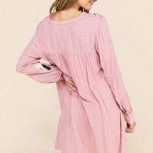 Entrance Dresses - Embroidered Blush Pink Dress Flowy